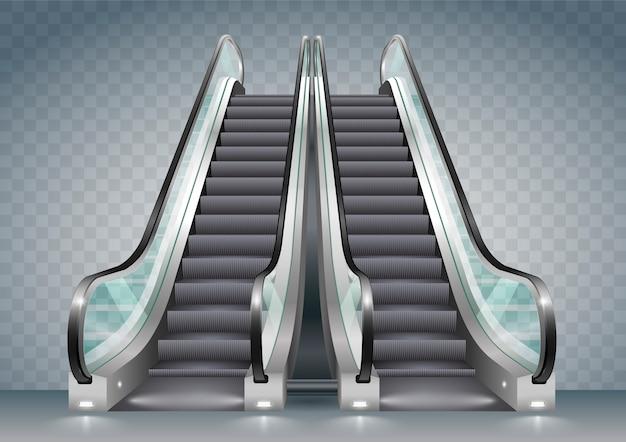 Escalator avec verre clair