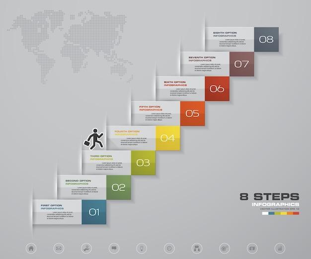 Escalier à 8 marches élément infographique pour présentation.