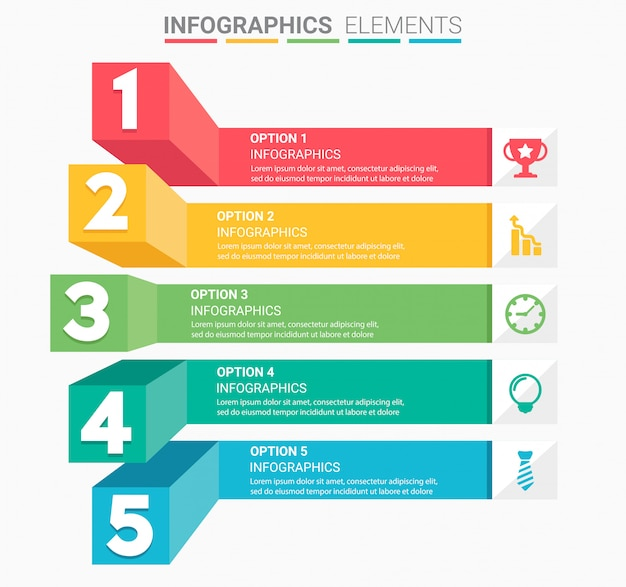 Escalier d'affaires infographique avec cinq marches