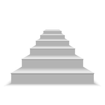 Escalier blanc vierge réaliste. illustration vectorielle