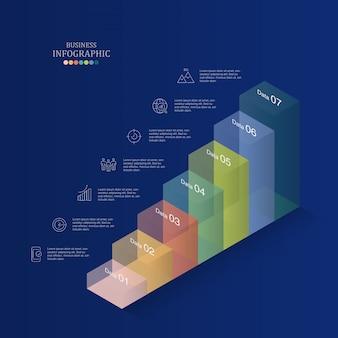 Escalier cas infographique et icônes pour concept d'entreprise.