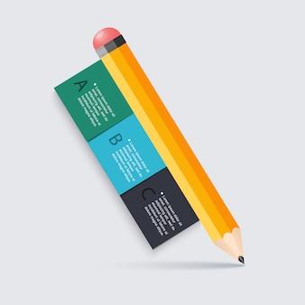 Escalier de crayon de l'éducation des affaires option d'infographie.