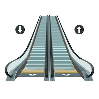 Escalier roulant en mouvement avec des flèches indiquant le chemin de déplacement de haut en bas.