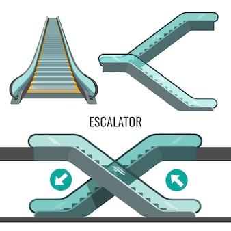 Escalier roulant en mouvement avec des flèches montrant le chemin du mouvement.