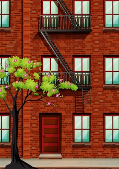 Escalier de secours sur le mur de l'appartement
