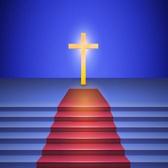 Un escalier avec tapis rouge mène à une croix en or debout sur scène