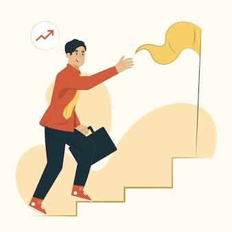 Escalier vers l'illustration du concept objectif