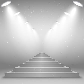 Escaliers blancs éclairés par les projecteurs, illustration réaliste