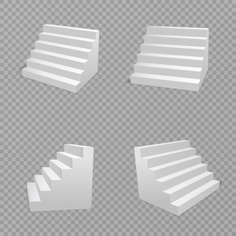 Escaliers blancs isolés sur fond transparent. escalier isolé, escalier 3d pour escaliers intérieurs. concept d'architecture escalier. illustration.