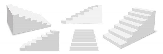 Escaliers intérieurs en 3d, marches blanches.