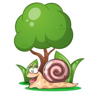 Escargot, animaux, arbre, herbe