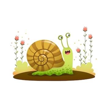Escargot de dessin animé mignon rampant dans le jardin sur fond blanc.
