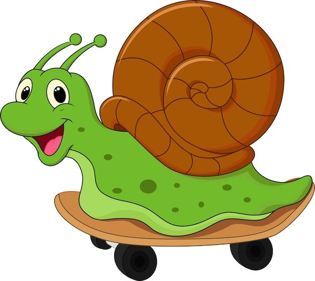 Escargot de dessin animé sur une planche à roulettes