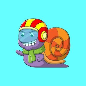 Escargot de dessin animé portant un casque de course