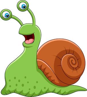 Escargot drôle de dessin animé isolé sur fond blanc