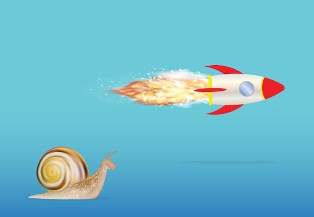 Escargot sur une fusée jouet