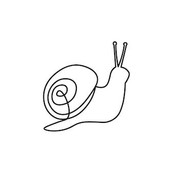 Escargot une ligne escargot pour les cosmétiques écologiques du salon de spa vecteur dans le style de croquis style de ligne
