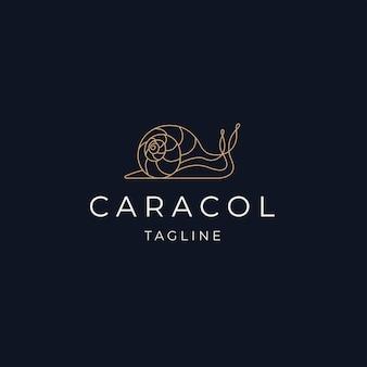 Escargot line art luxe élégant logo icône design template vecteur plat