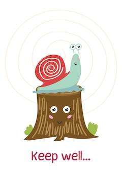 Escargot mignon assis souche d'arbre carte de voeux pour enfants positifs