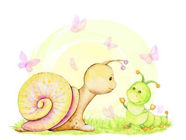 Un escargot mignon, et une chenille, sur le fond, le soleil, un concept d'aquarelle
