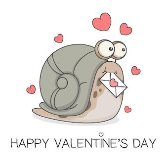 Escargot mignon tenant lettre d'amour saint valentin