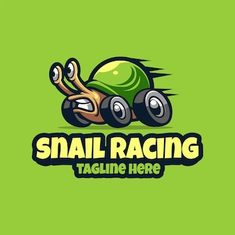Escargot racing esport mascotte cartoon logo modèle vectoriel