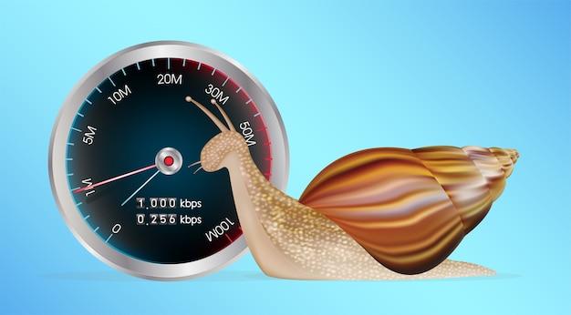 Escargot avec un test de vitesse lent internet