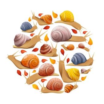 Escargots avec composition ronde de feuilles