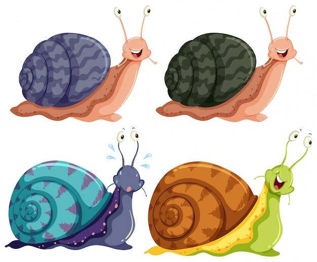 Escargots heureux quatre couleurs isolés