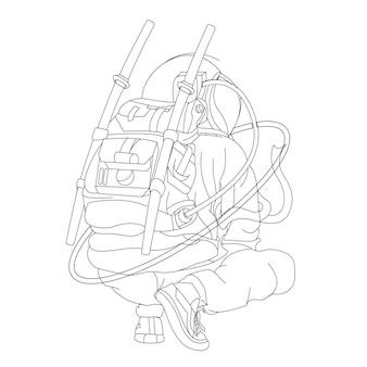 Escouade d'astronautes dessinés à la main isolé sur blanc