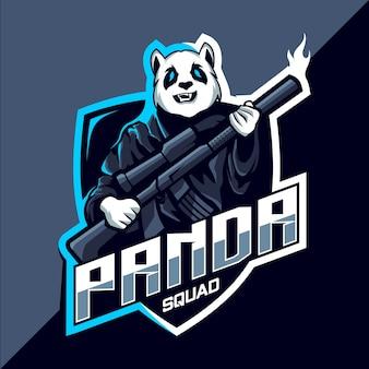 Escouade de panda avec création de logo esport mascotte pistolet