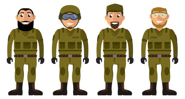 Escouade de soldats. ensemble de personnages de vecteur hommes militaires