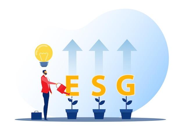 Esg ou concept de problème écologique chef d'homme d'affaires arrosant le concept d'investissement de croissance des semis