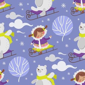 Eskimo girl bear hiver enfant comique drôle design plat dessin animé dessiné à la main modèle sans couture illustration vectorielle pour impression