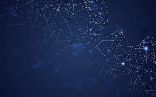 Espace abstrait polygonale low poly bleu avec points et lignes de raccordement. connexion structure.vecteur illustrateur