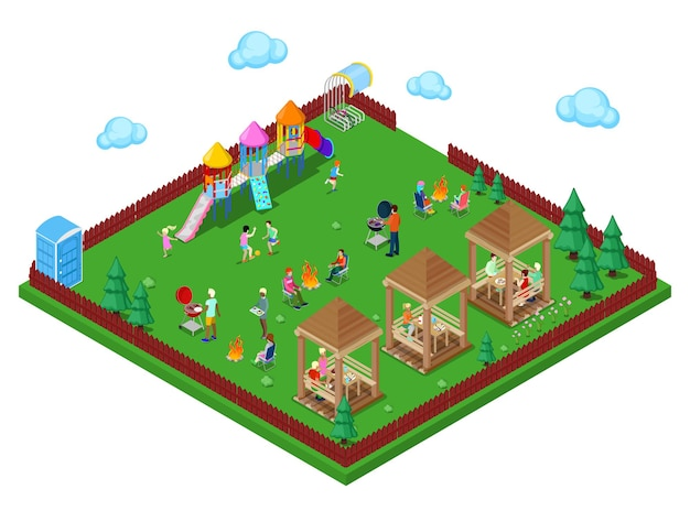 Espace barbecue familial dans la forêt avec aire de jeux pour enfants et personnes actives cuisinant de la viande. ville isométrique. illustration vectorielle