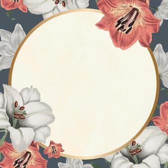 Espace de conception dessiné à la main de vecteur de cadre floral vintage