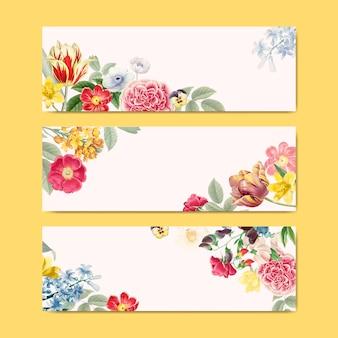 Espace copie bannière floral blanc