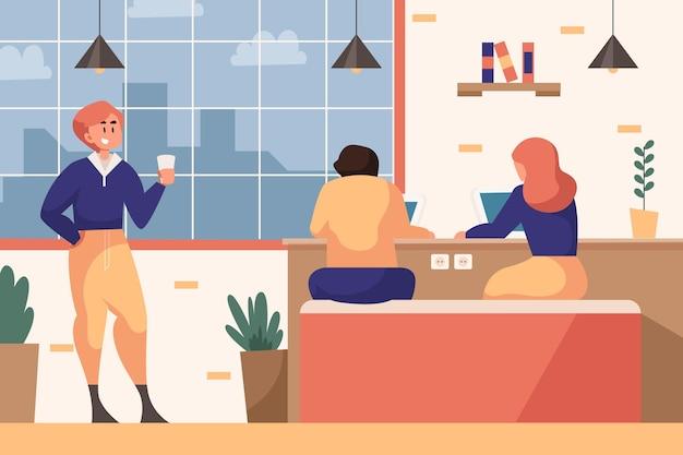 Espace de coworking de dessin animé illustré