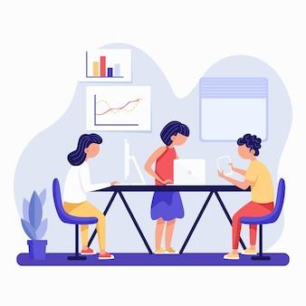 Espace de coworking dessiné à la main illustré