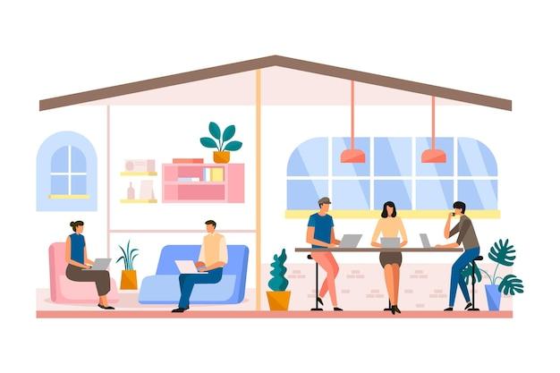 Espace de coworking dessiné à main longue vue