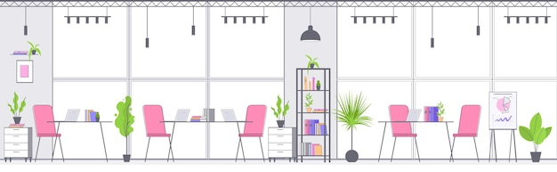 Espace de coworking moderne intérieur vide aucun bureau de personnes
