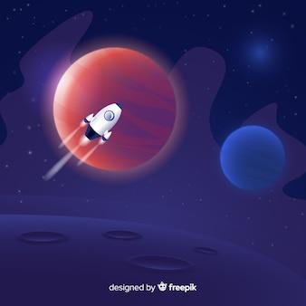 Espace dégradé avec une fusée
