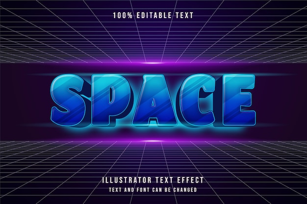 Espace, effet de texte modifiable 3d dégradé bleu style d'ombre futuriste moderne