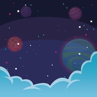 Espace avec étoiles et nuages