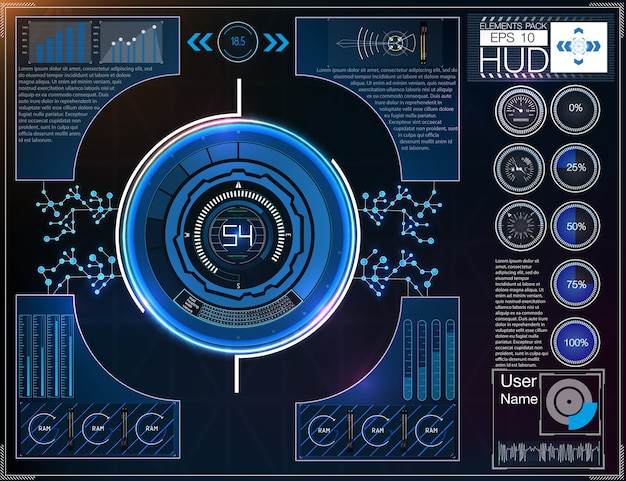 Espace extra-atmosphérique de fond hud. éléments infographiques données numériques, abstrait de l'entreprise.
