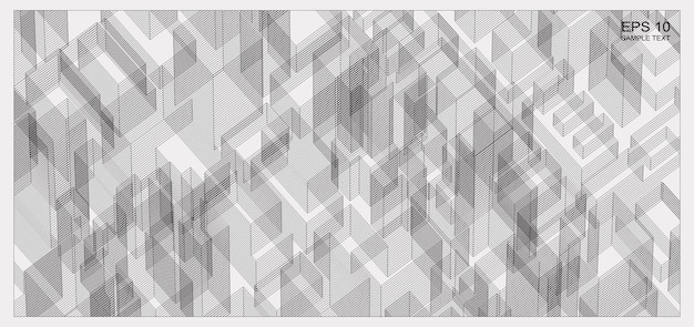 Espace filaire de matrice abstraite du bâtiment. arrière-plan filaire perspective 3d. illustration vectorielle.