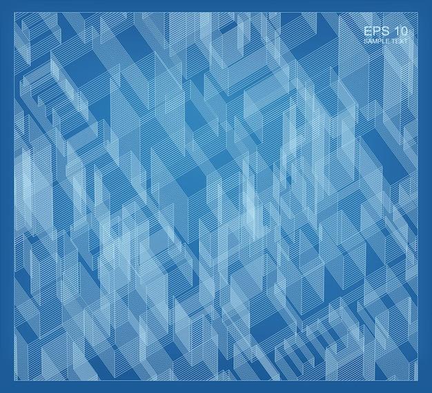 Espace filaire de matrice abstraite du bâtiment. contexte filaire de perspective. illustration 3d vectorielle.