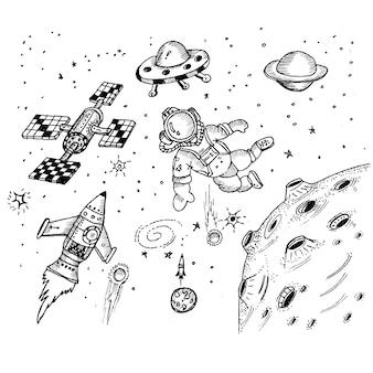 Espace fusée satelite astronaute doodle