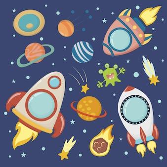 Espace, illustration vectorielle pour enfants carrés. fusées et planètes dans un style plat.